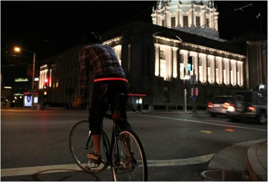 Halo Belt on a bike-riding hipster