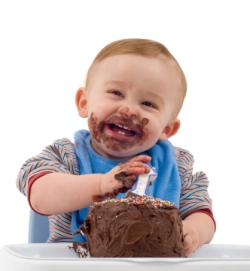 You will never find a picture of someone not smiling while eatin chocolate cake. EVER.