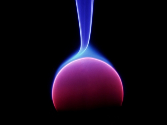 A close up of a single energy arc in a plasma globe