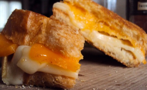 Two Cheese Gourmet Grilled Cheese with Potato Chips