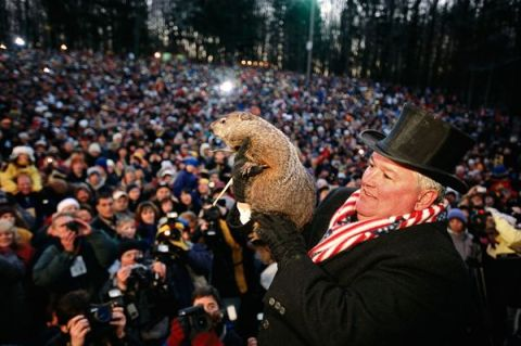 Punxsutawney Phil greets an enthusiastic and otherwise uninteresting crowd.