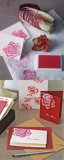 Make some easy roses with an artichoke and an ink stamper. Layer them in different colors for more depth.