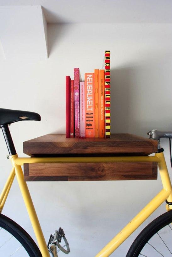 bike storing book shelf