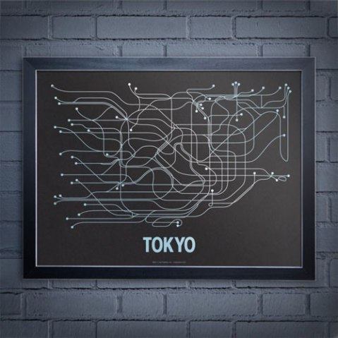 line posters city subway map tokyo