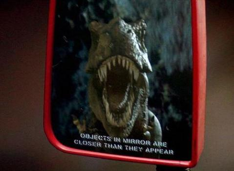 T-rex jurrasic park objects closer than they appear