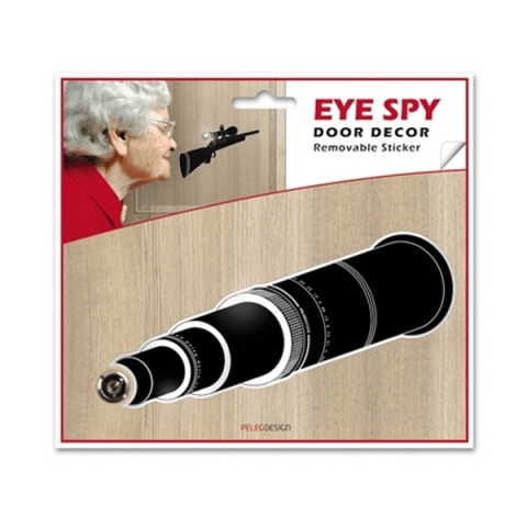 Eye Spy telescope peephole door sticker