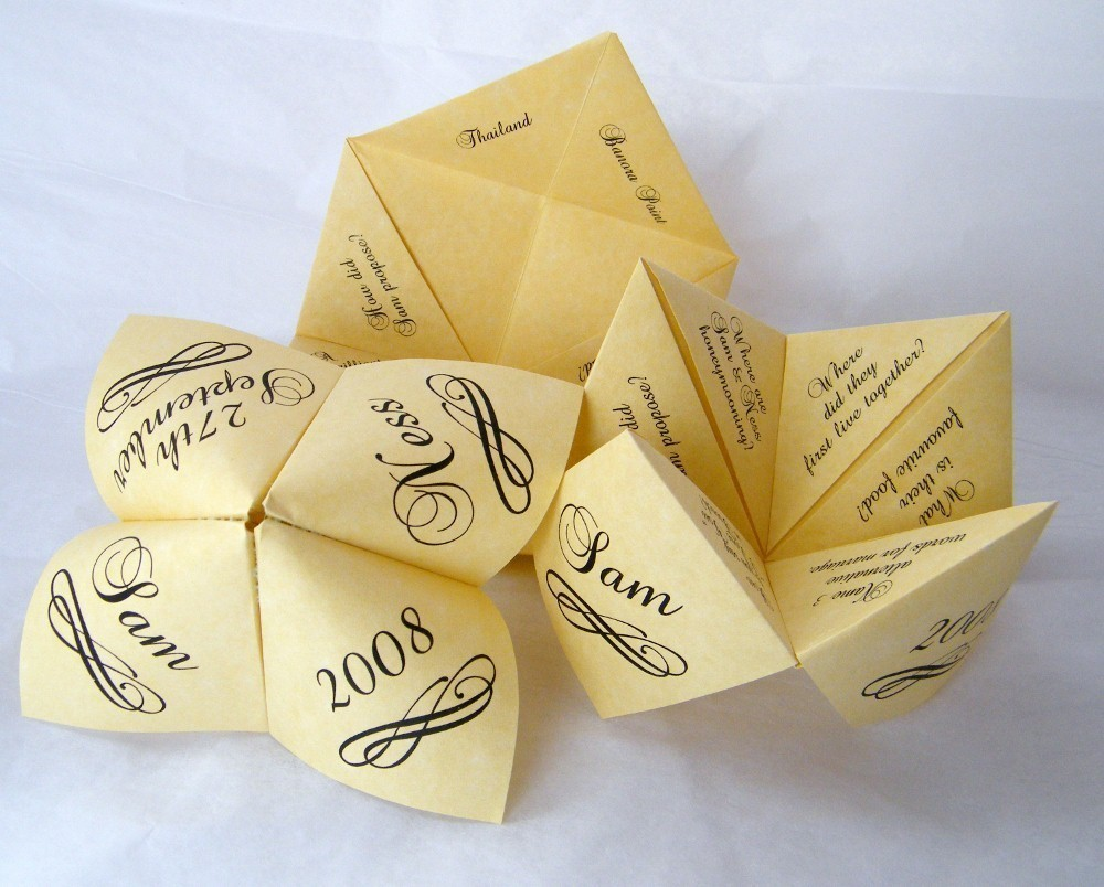 fortune teller paper game wedding