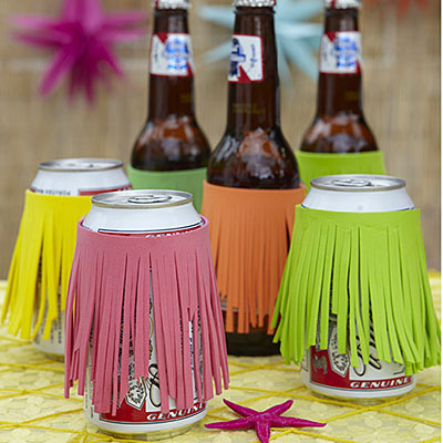 DIY Grass Skirt Koozie Bottle Can Coolers Tiki Party