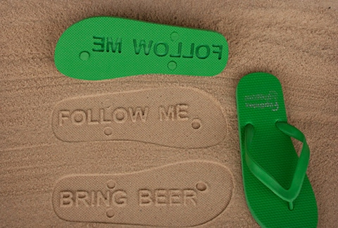 Follow Me Bring Beer Imprint Flip Flops