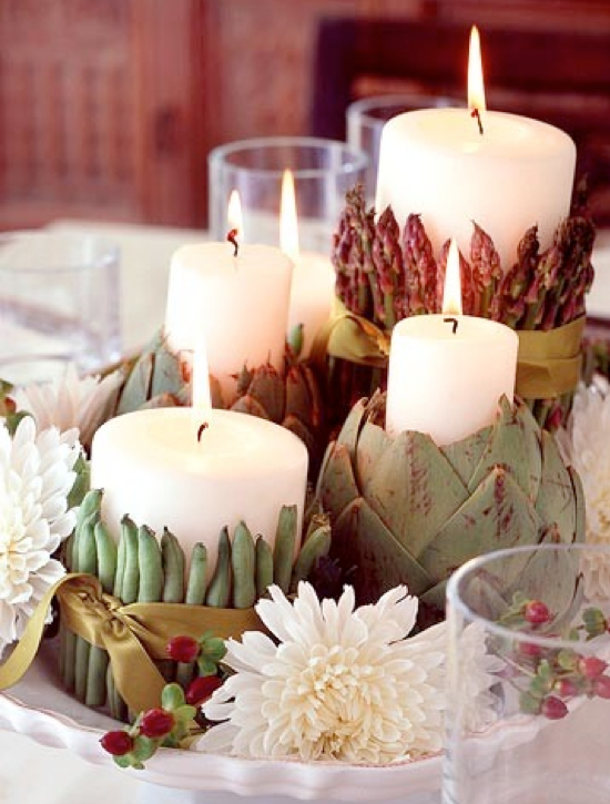 Veggie And Candle Table Centerpieces.001