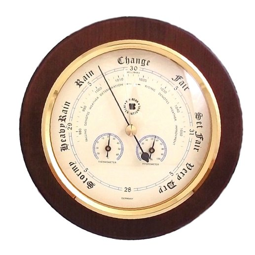 Brass Precision Barometer Cherry Wood