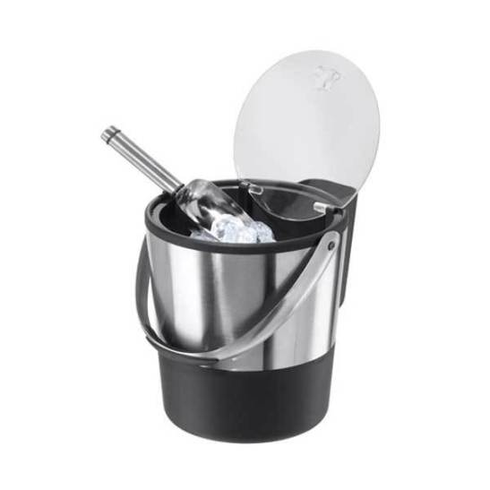 Double Wall Ice Bucket with Flip Lid and Stainless Ice Scoop