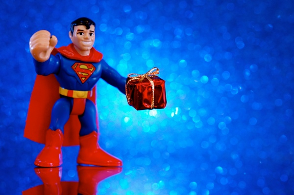 superman with gift