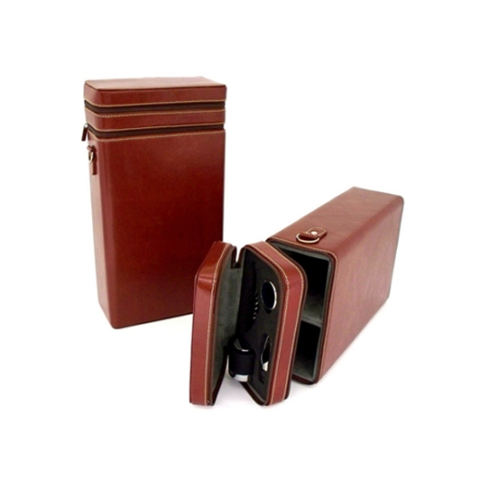 Brown Leather Wine Caddy with Accessories