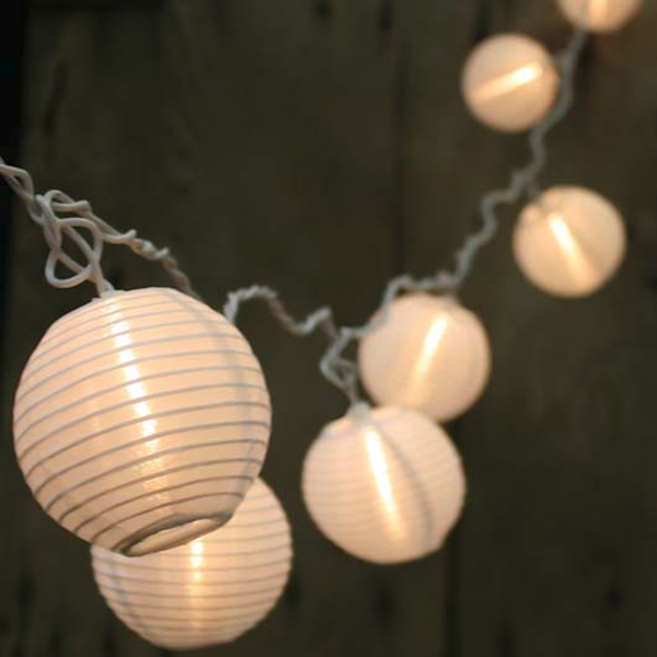 White Lantern LED String Lights