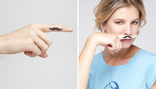 Fingerstache Temp Tattoos